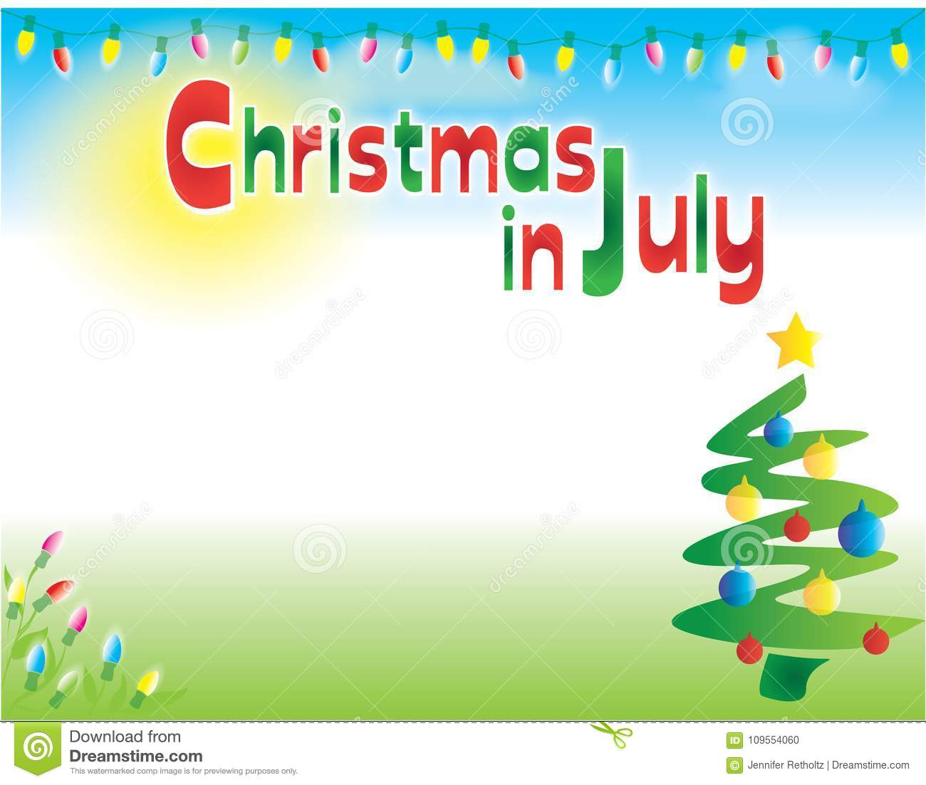 Christmas In July Horizontal Postcard Flyer Background Template