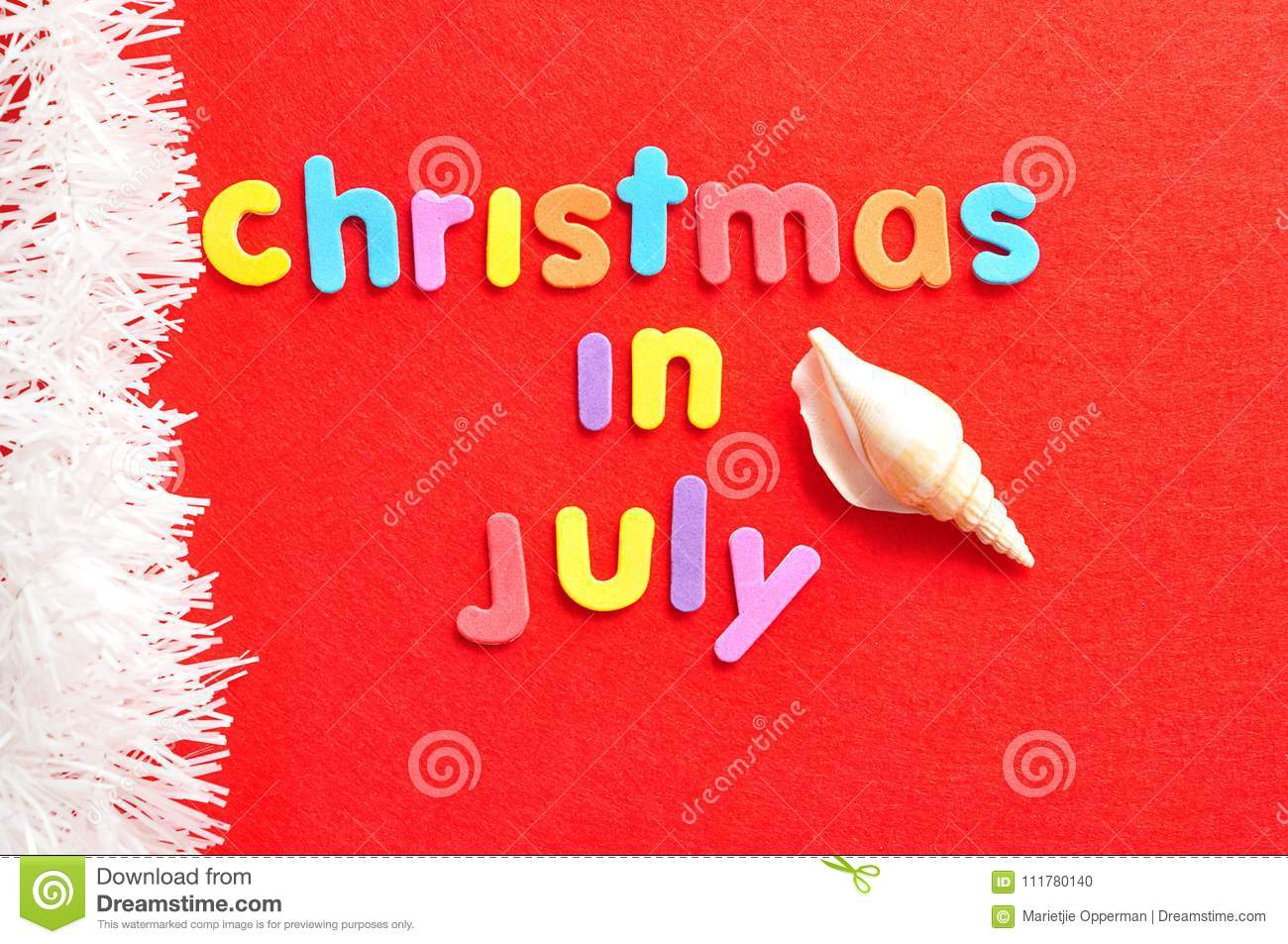 Christmas in July with a shell and a string of white tinsel