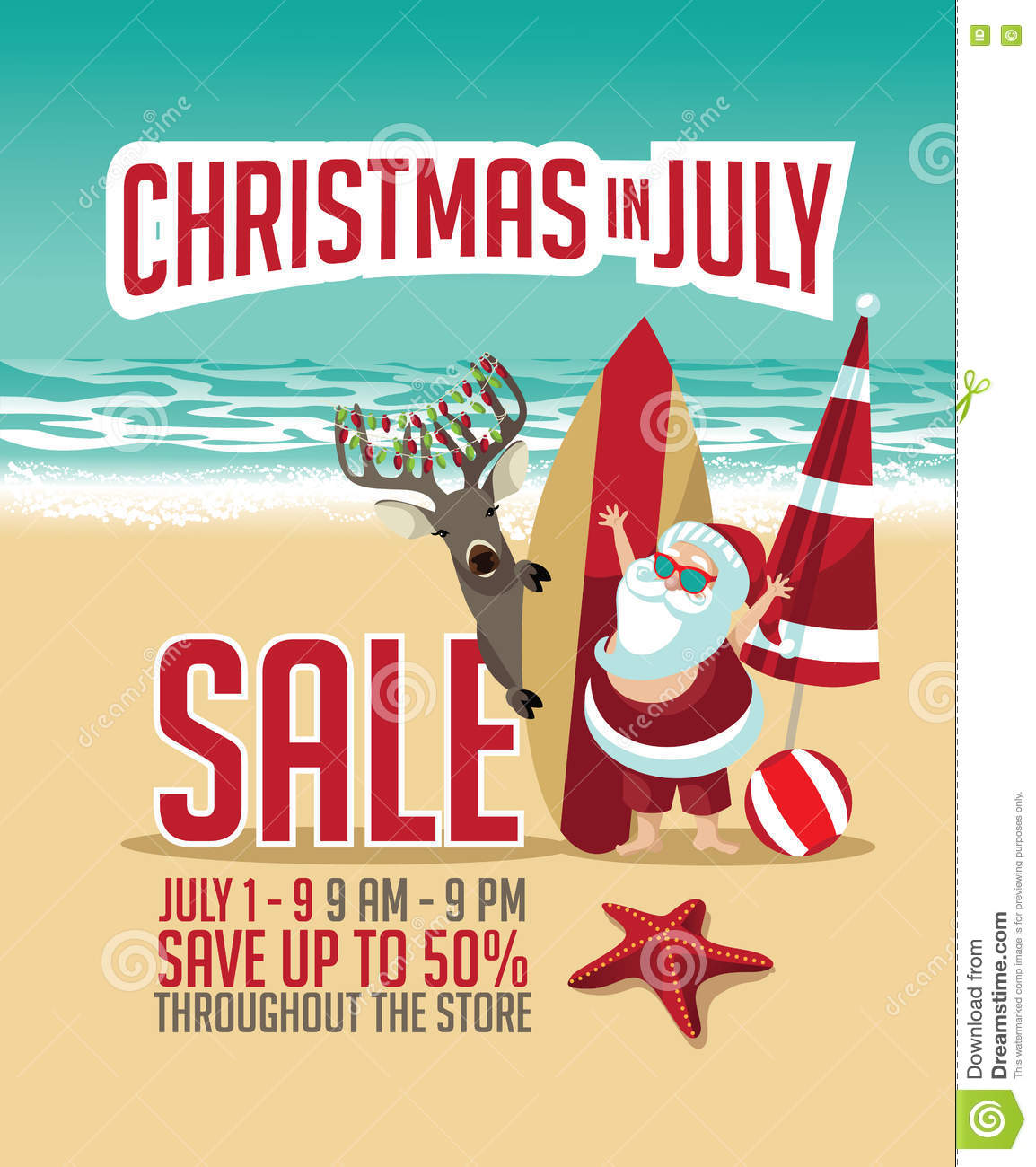 Christmas In July Sale Images.Christmas In July Sale Marketing Template Stock Vector