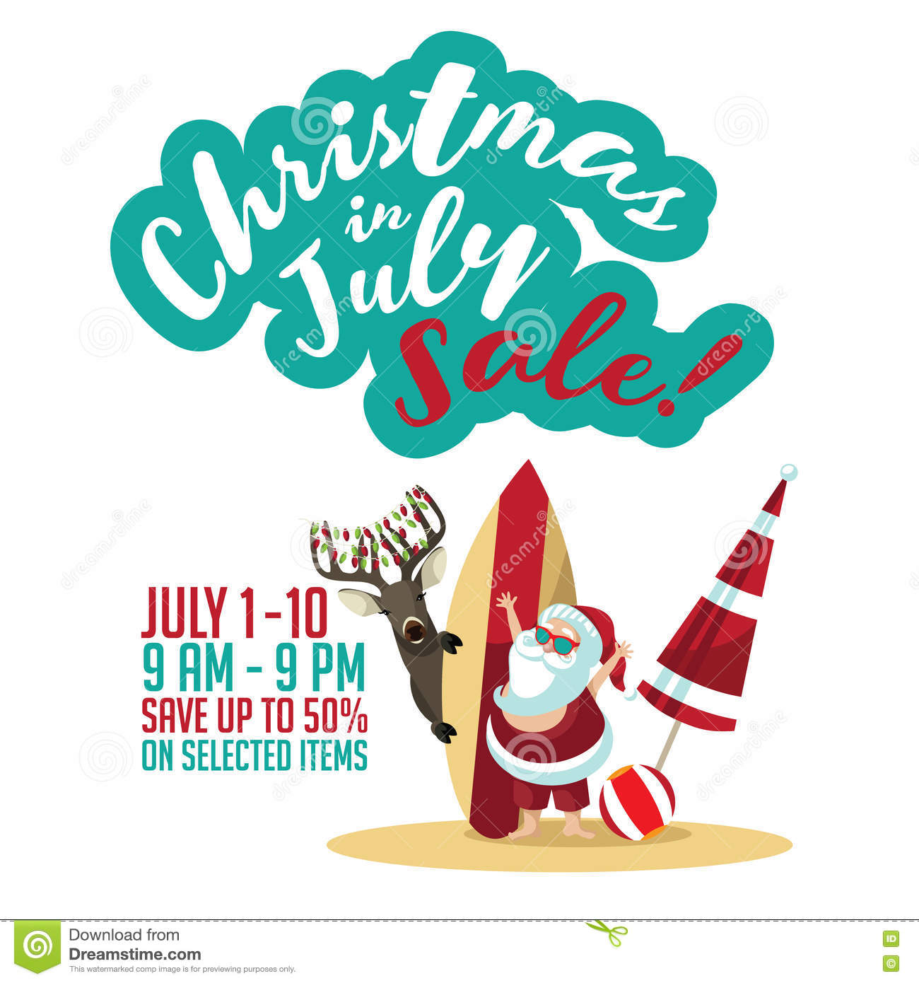Christmas In July Clipart Free.Christmas In July Sale Marketing Template Stock Vector