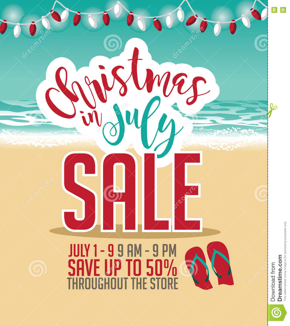 Christmas in July Sale marketing template.