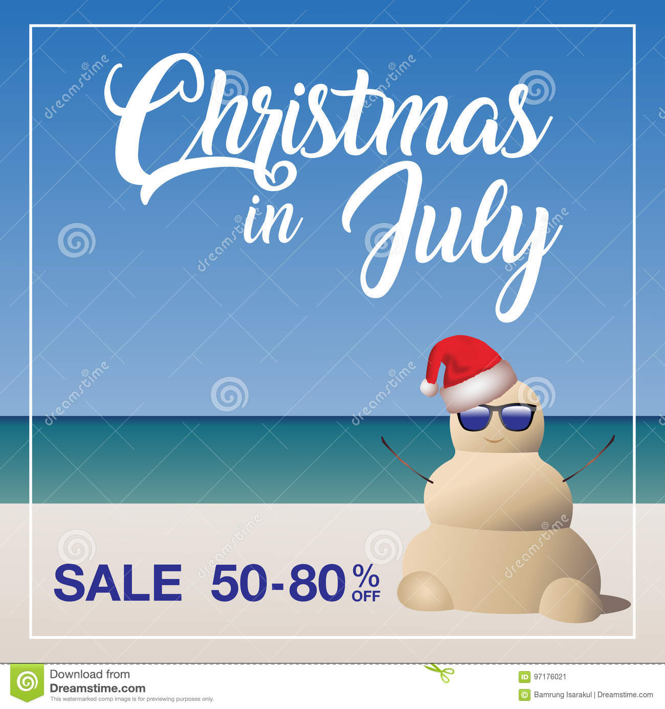 Christmas In July Free Graphics.Christmas In July Sale Marketing Template Stock Vector