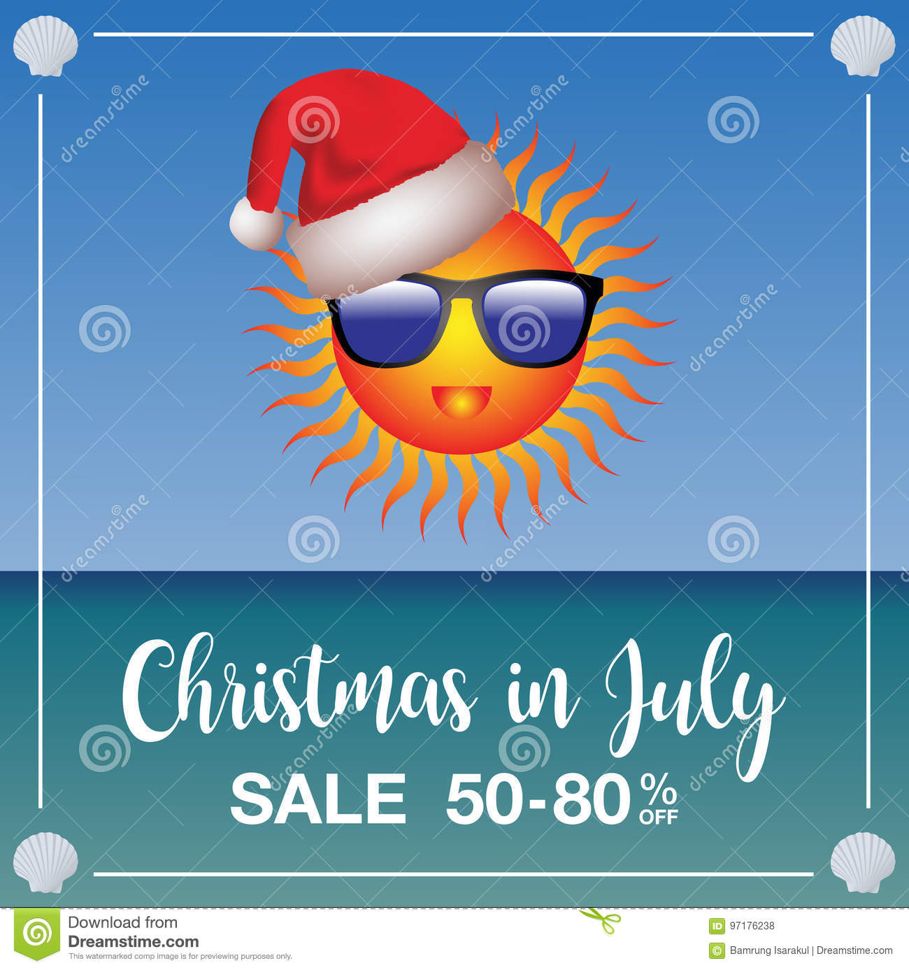 Christmas In July Background Images.Christmas In July Sale Marketing Template Stock Vector
