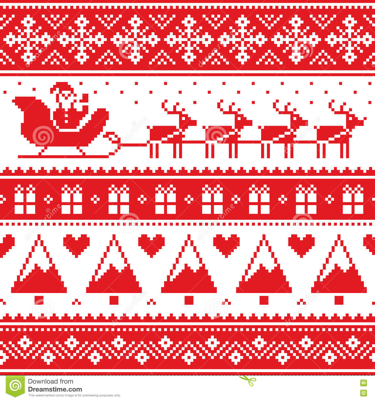 Christmas Jumper Or Sweater Seamless Red Pattern With Santa And Reindeer Stoc...