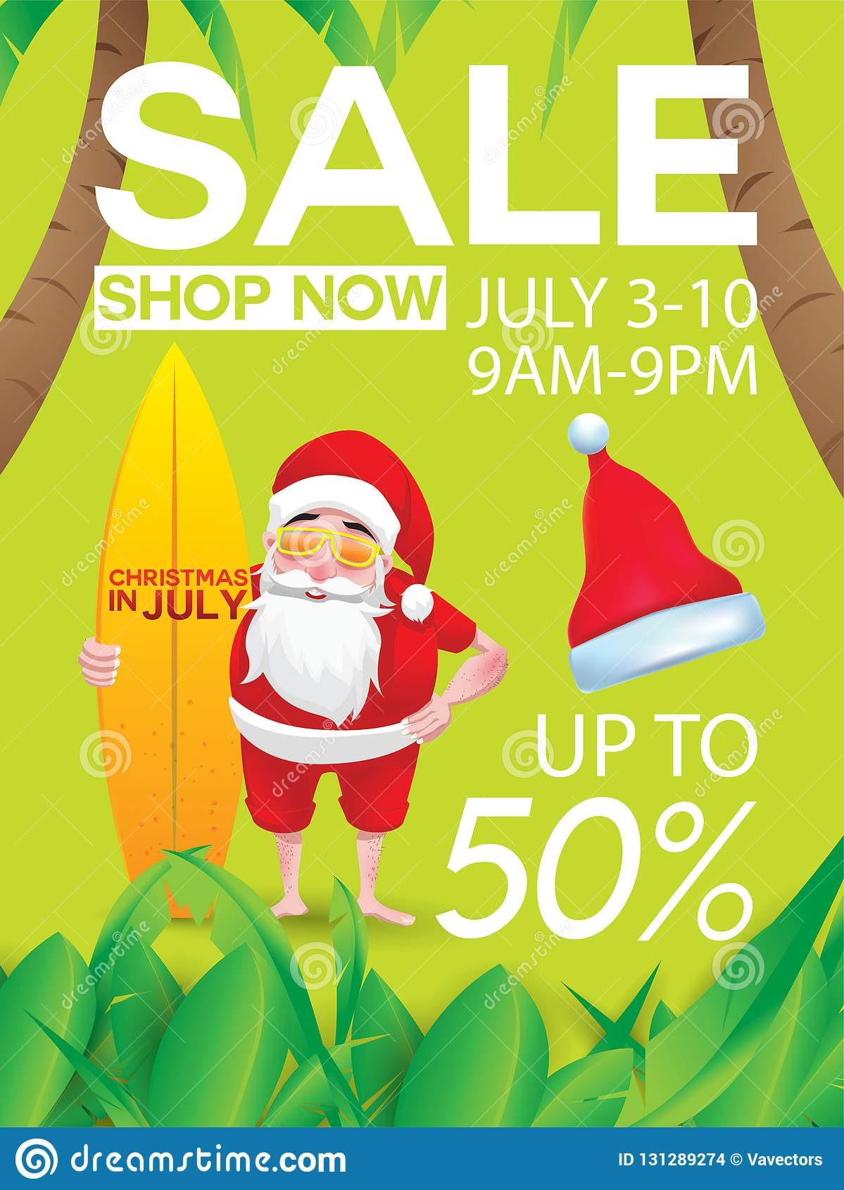 Christmas In August Poster.Christmas In July Design With 3d Concept Stock Vector
