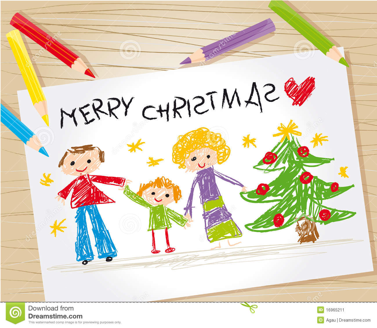 Christmas Kid Drawing Stock Vector. Illustration Of