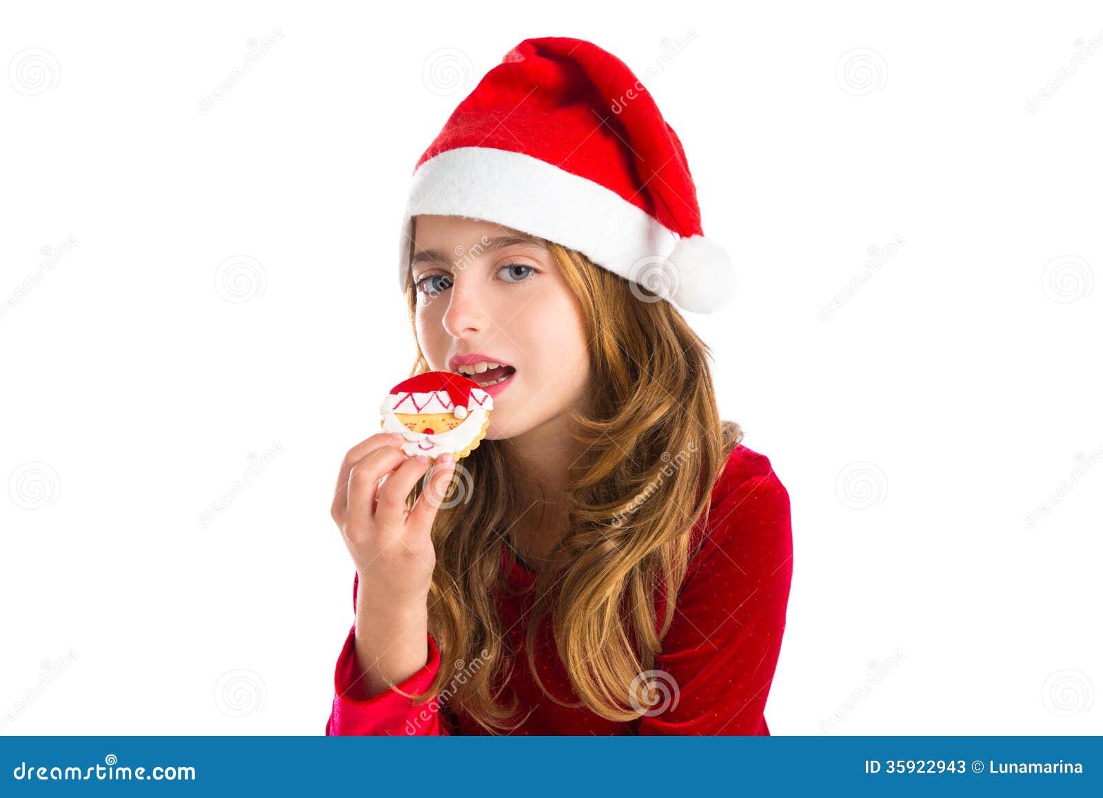 Christmas Kid Girl Eating Xmas Santa Cookie Stock Image - Image of ...