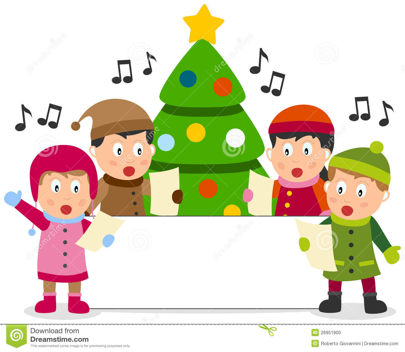 Group of four cute kids singing christmas carols in front of a