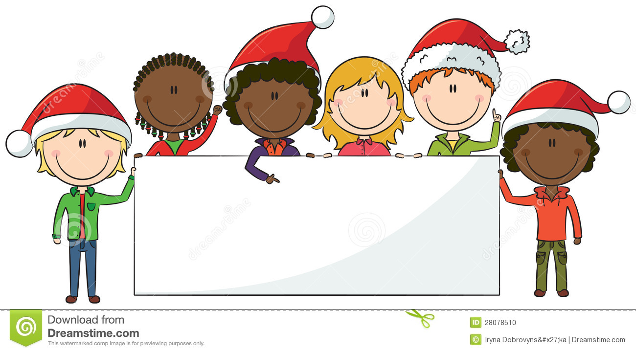Christmas Kids With Banner Illustration 28078510 - Megapixl