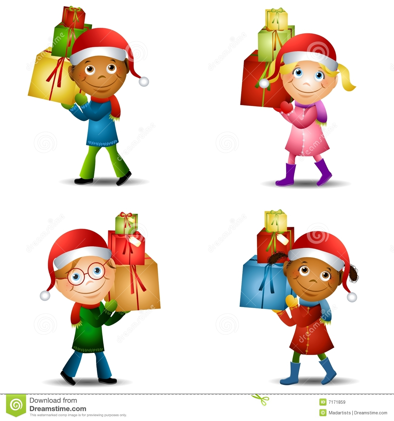 Christmas Kids With Gifts 2 Stock Illustration - Illustration of ...