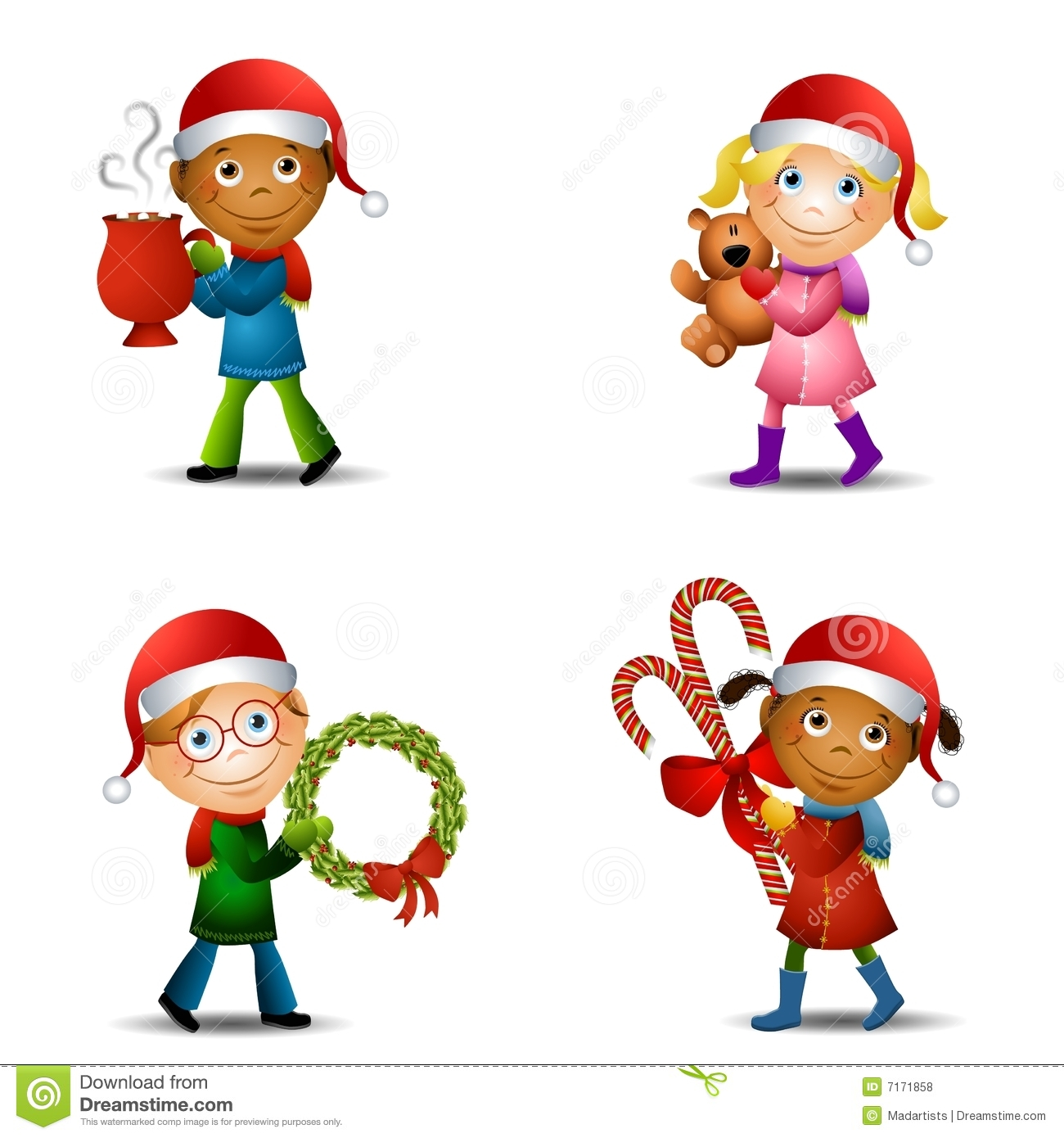 Christmas Kids With Gifts stock illustration. Illustration of girl ...