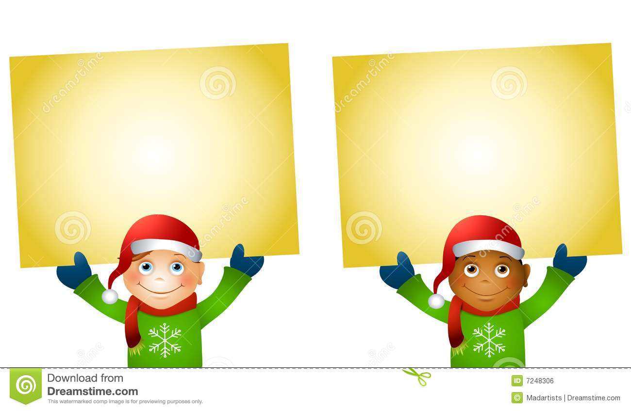 Christmas Kids Holding Signs Royalty Free Stock Image - Image: 7248306