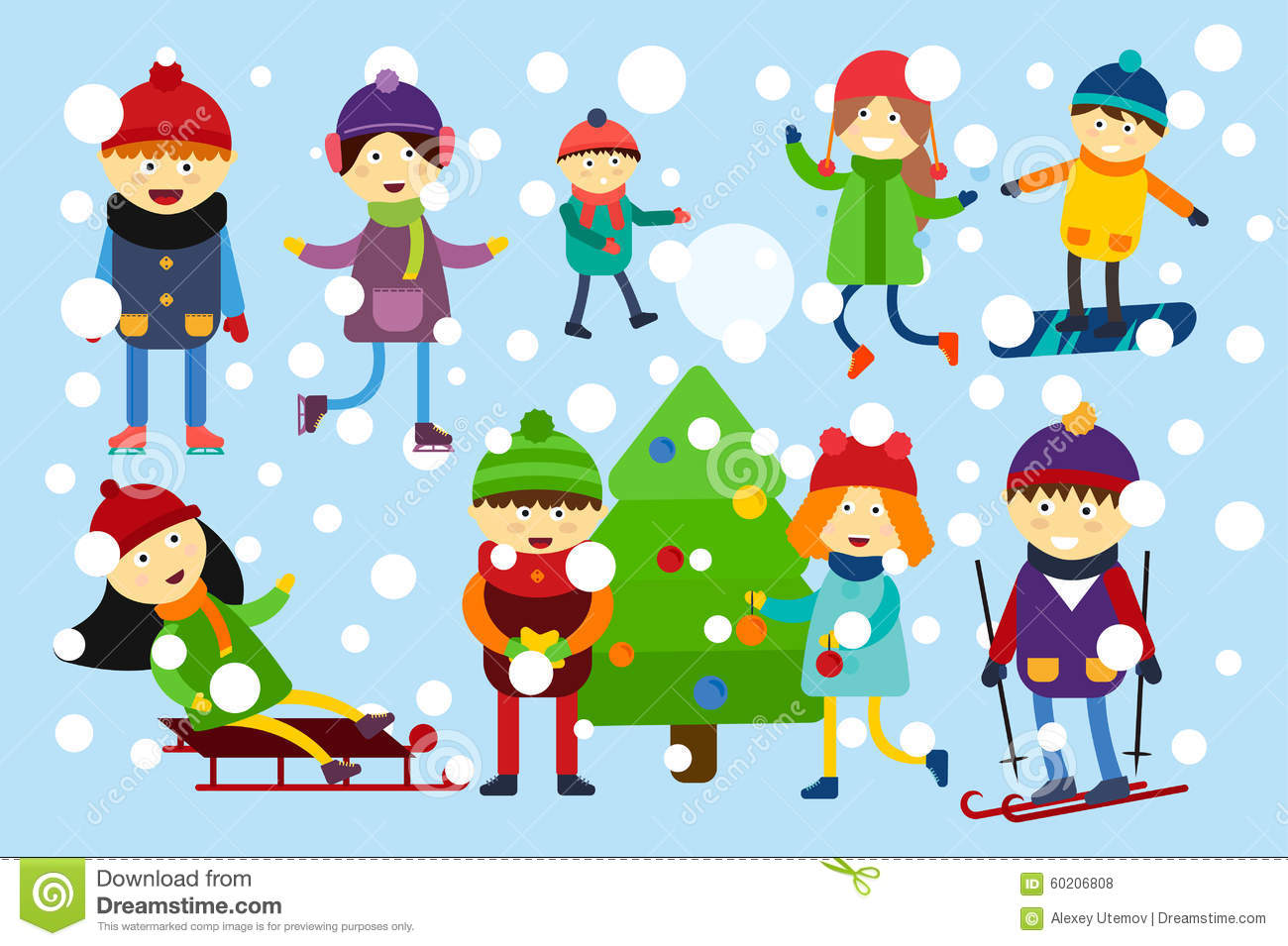 Christmas Kids Playing Winter Games Stock Vector - Illustration of ...