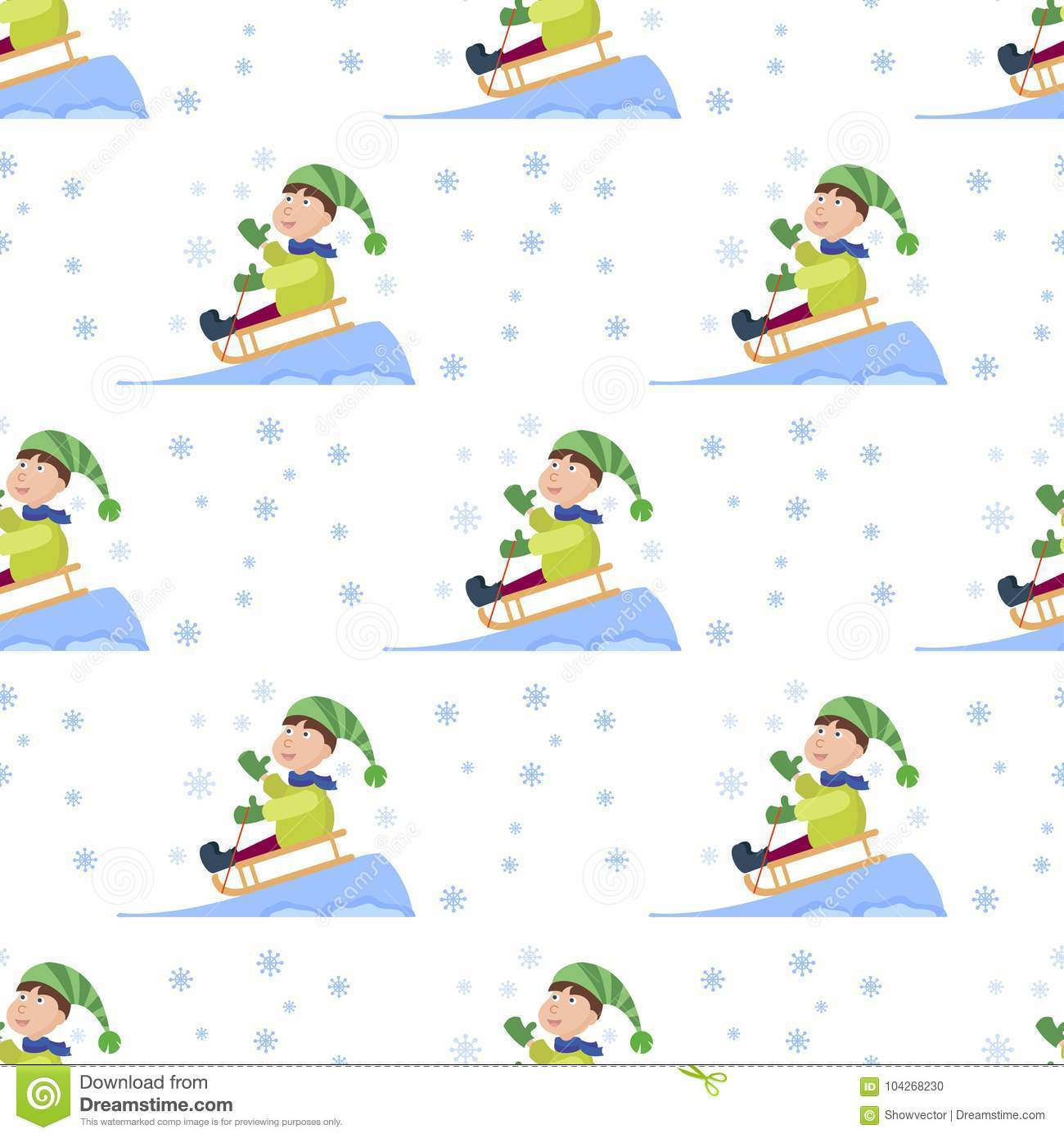 christmas kids playing winter games seamless pattern background cartoon new year winter holiday background vector