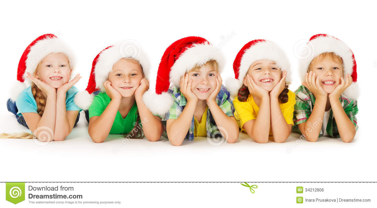 Christmas Kids In Hat, Group Of Children Santa Helpers, White Stock ...