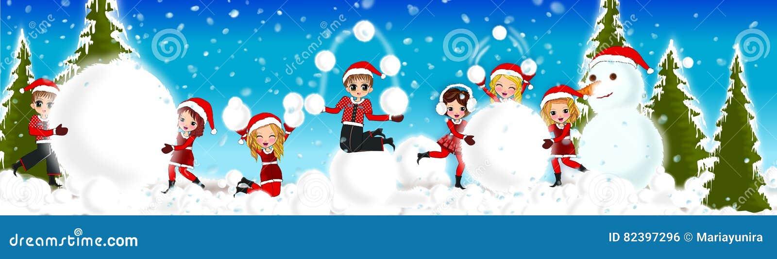 Christmas kids snow stock illustration. Illustration of snow - 82397296