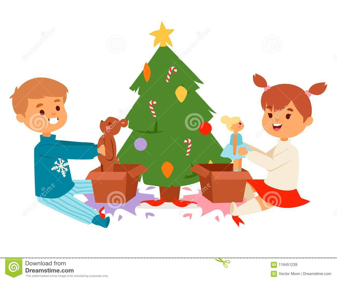 download christmas kids vector character playing winter games winter children holidays christmas tree cartoon new year - Christmas Games For Toddlers