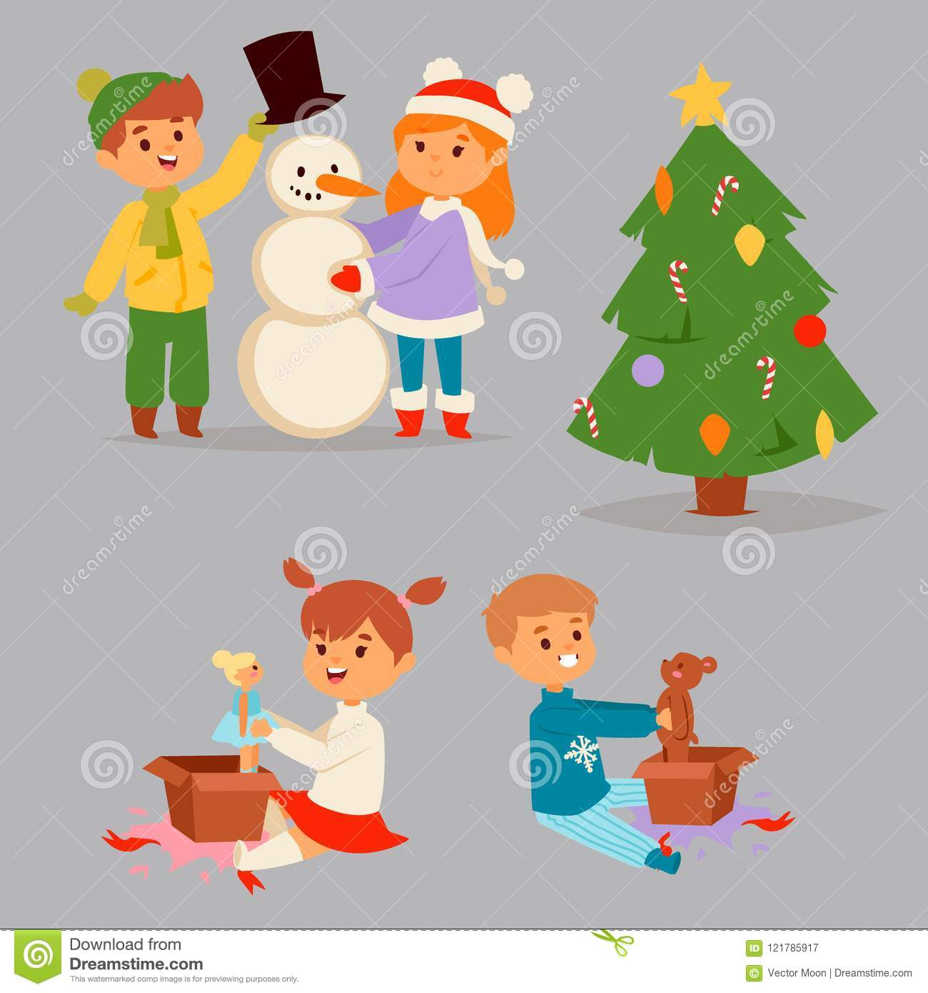christmas kids vector character playing winter games winter children holidays christmas tree cartoon new year xmas - Christmas Games For Toddlers