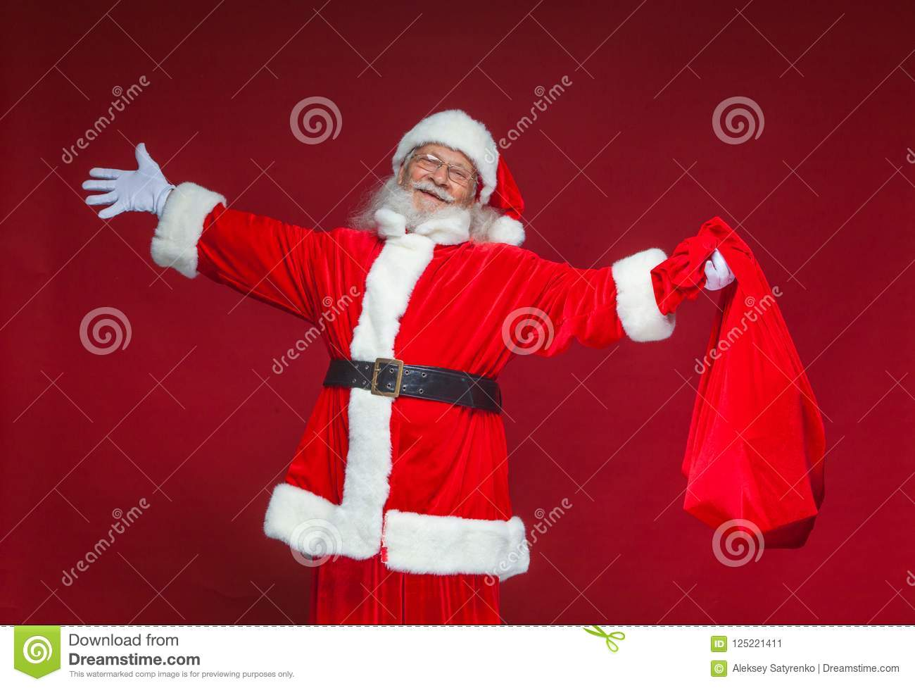 Christmas. Kind Smiling Santa Claus Spread His Hands To The Sides ...