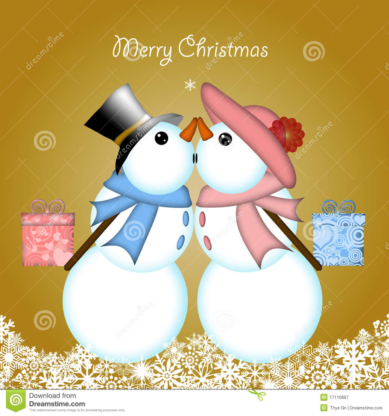 Christmas Kissing Snowman Couple Giving Gifts Royalty Free