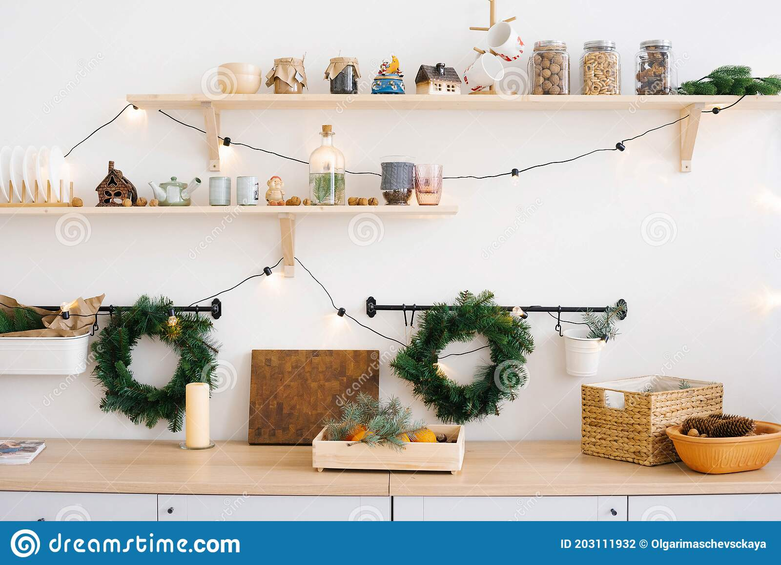 Christmas Kitchen Decor The Rustic Kitchen For Christmas Details Of Scandinavian Cuisine In White Stock Photo Image Of Furniture Frog 203111932