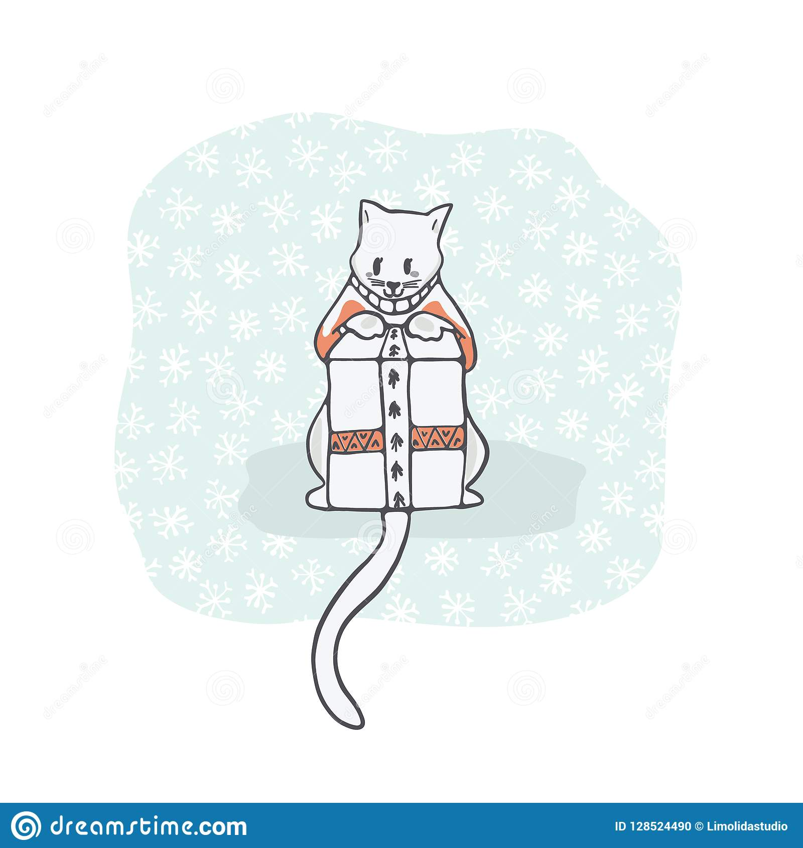 Christmas Kitten Embroidery Jumper And Present Box Clipart Hand