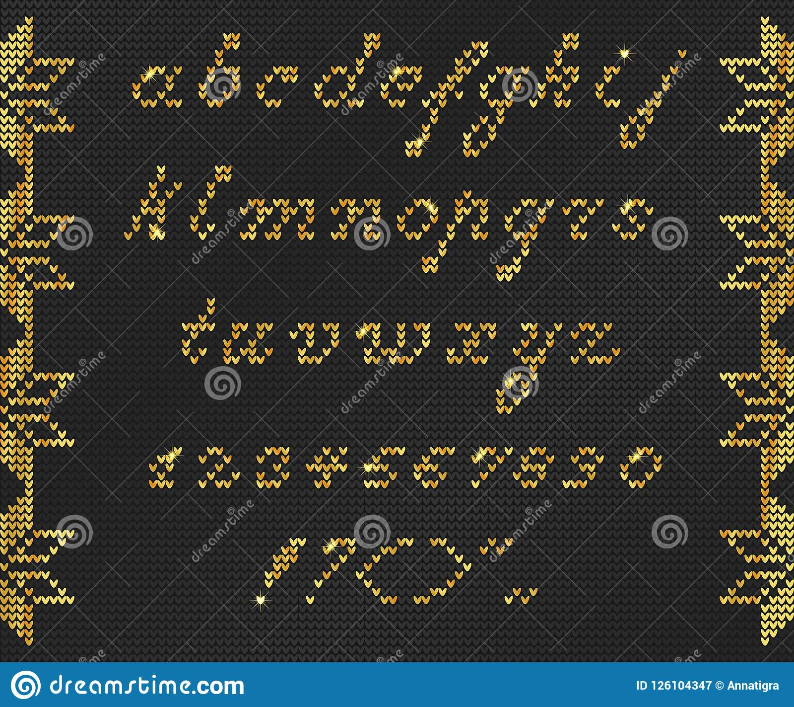 56ff63822866 Christmas Knitted Font 1 stock vector. Illustration of gold - 126104347