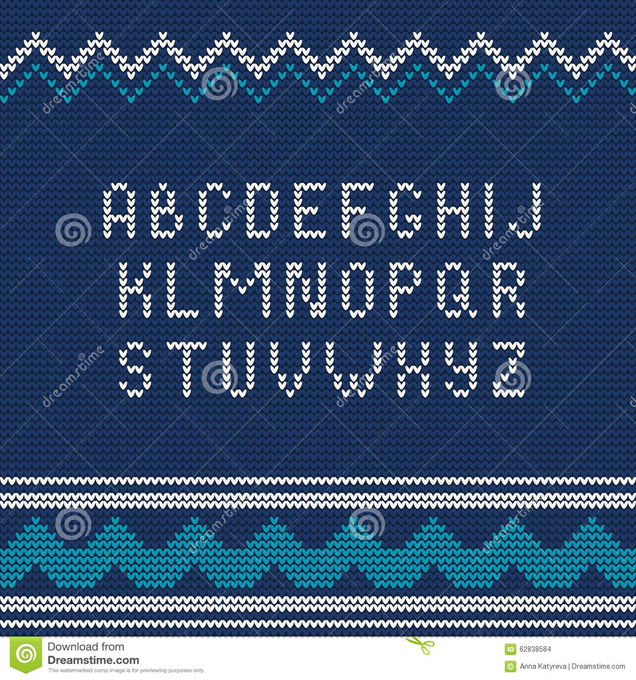 Christmas Knitted Font 1 Stock Vector - Image: 62838584