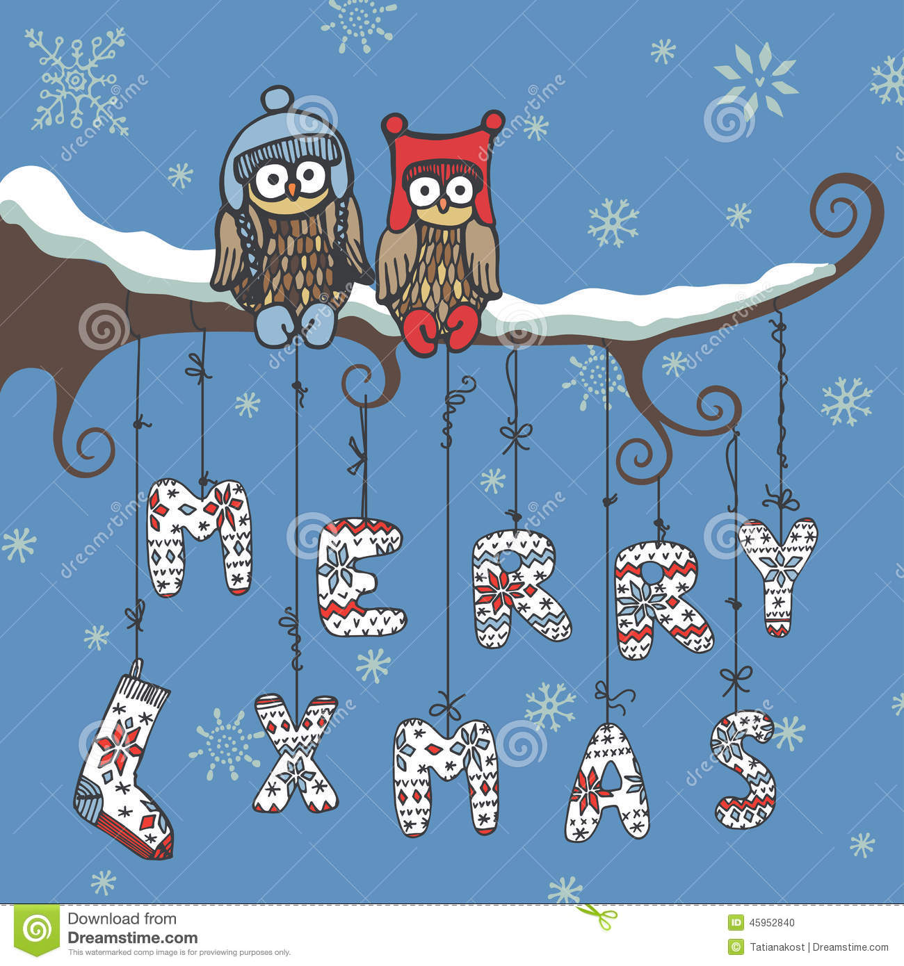 Christmas Knitted LettersOwlBranch Stock Vector  Illustration Of