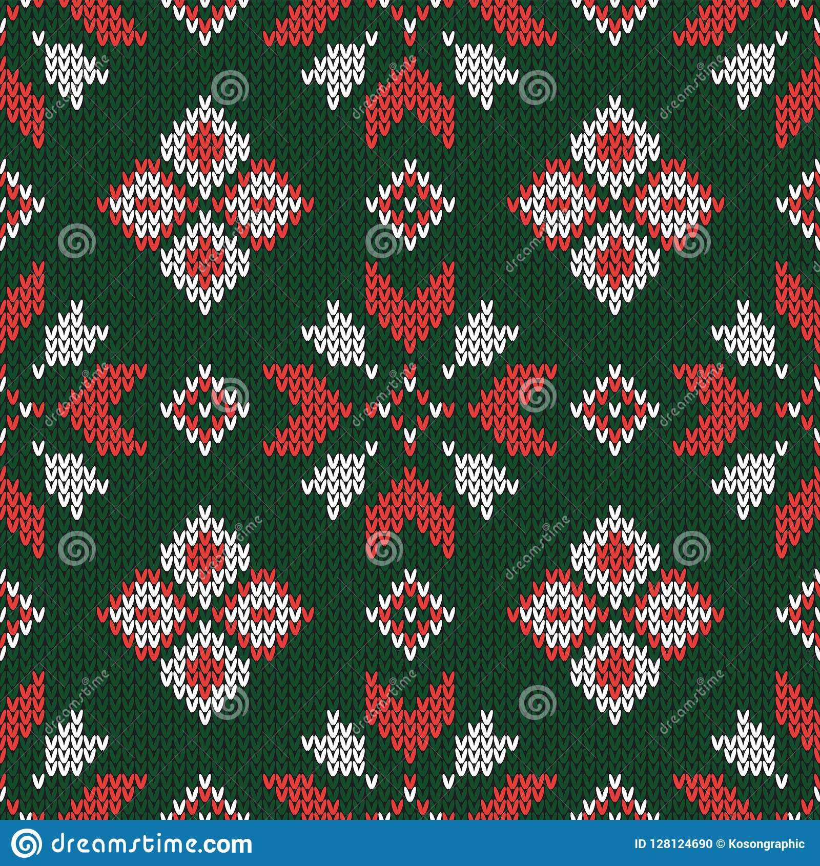Christmas Knitted Pattern Geometric Abstract Seamless Pattern