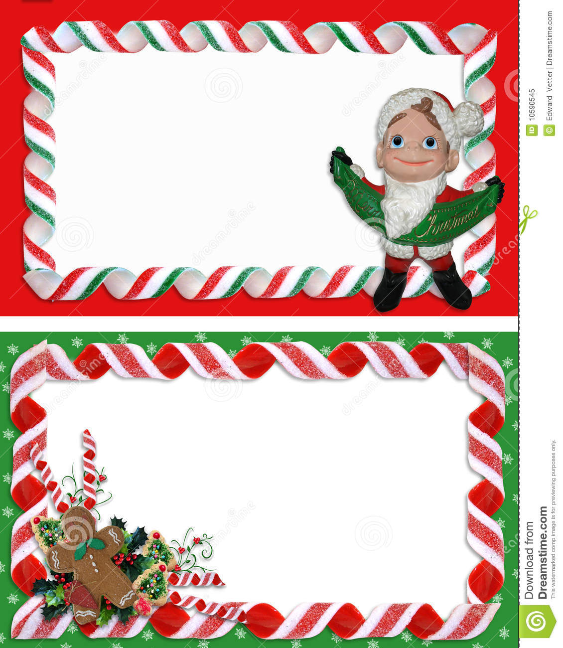 Christmas Label Borders Ribbon Candy Stock Illustration