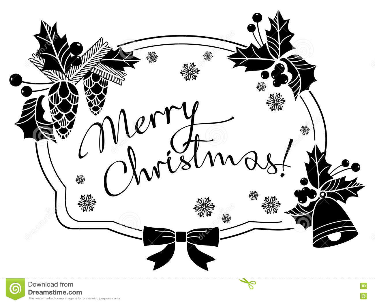 Merry Christmas Images Black And White.Christmas Label With Written Greeting Merry Christmas