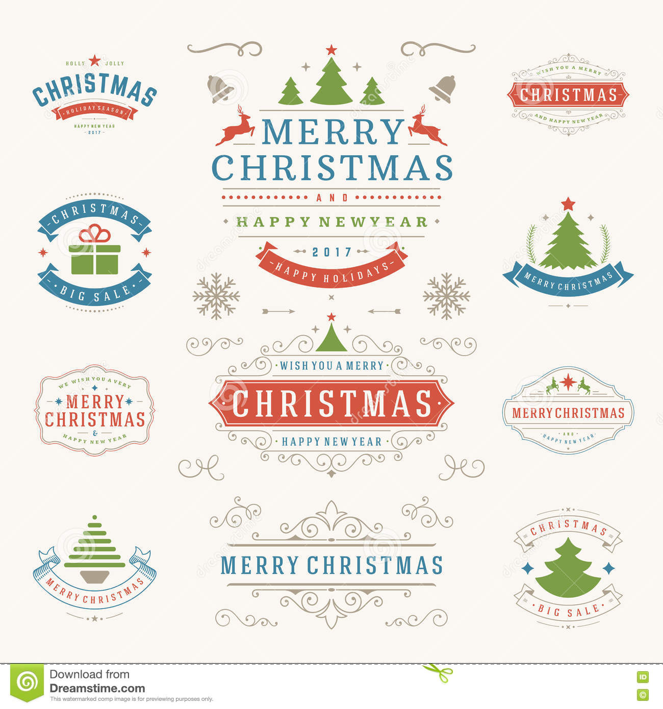 Merry Christmas Labels.Christmas Labels And Badges Vector Design Elements Set