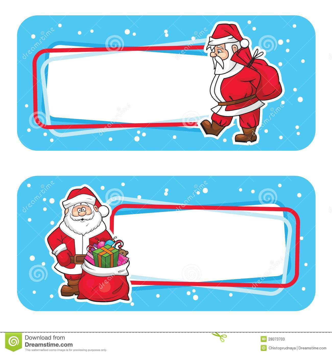 Blank Gift Tags With Santa Claus, Isolated On White Background, Vector ...