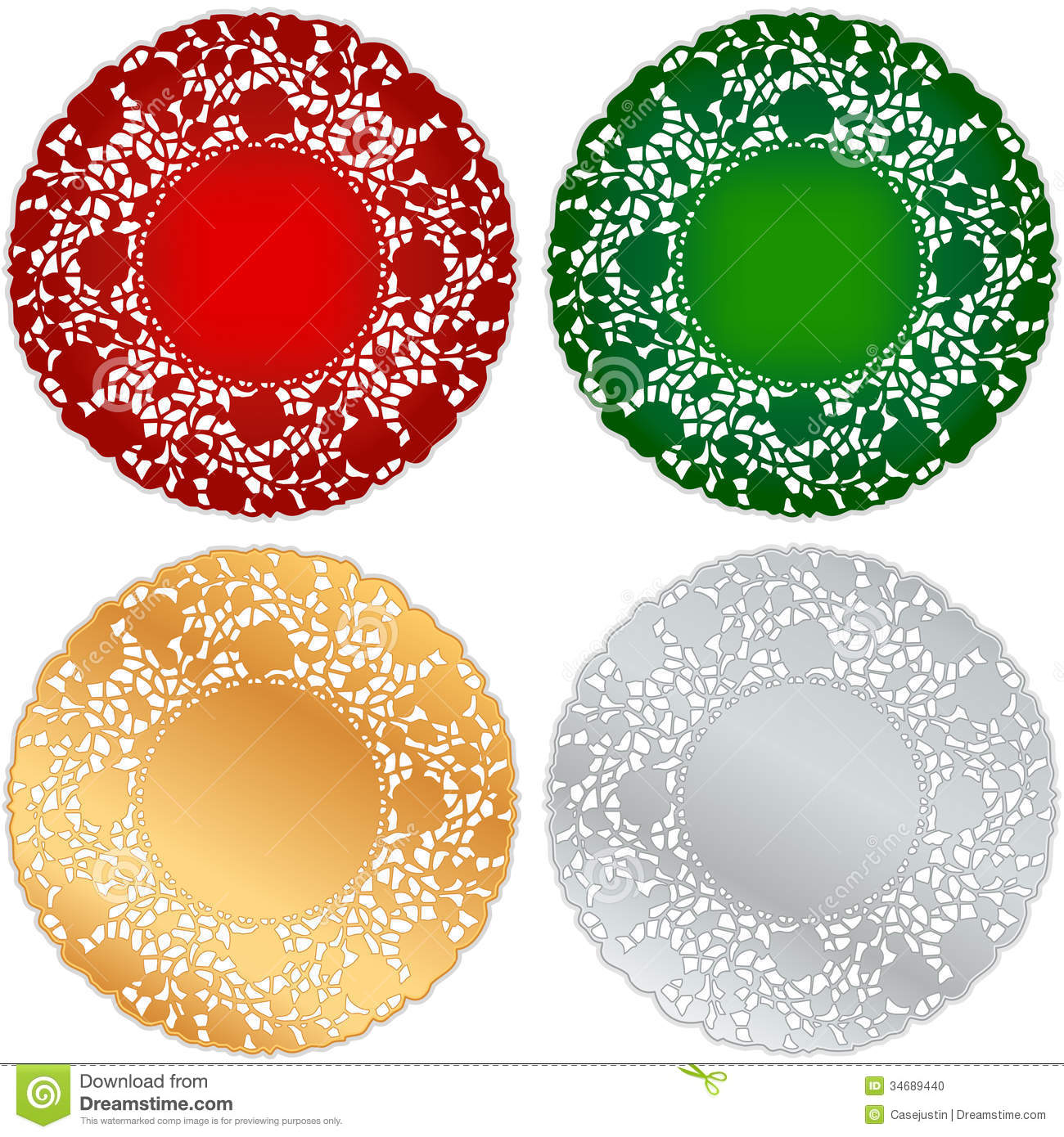Christmas table decorations red and gold - Christmas Lace Doily Place Mats