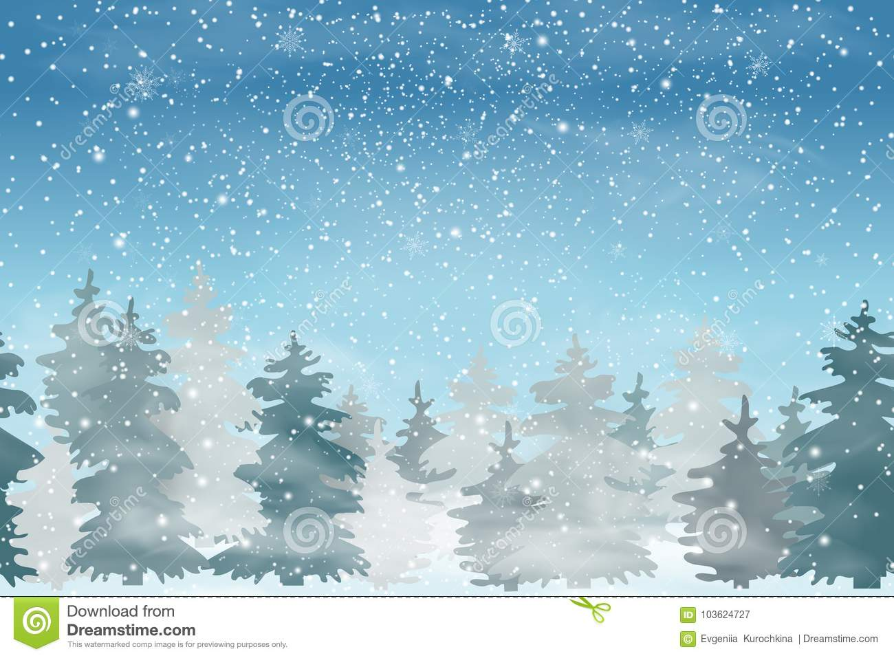 Christmas Landscape With Falling Christmas Snow, Coniferous Forest ...