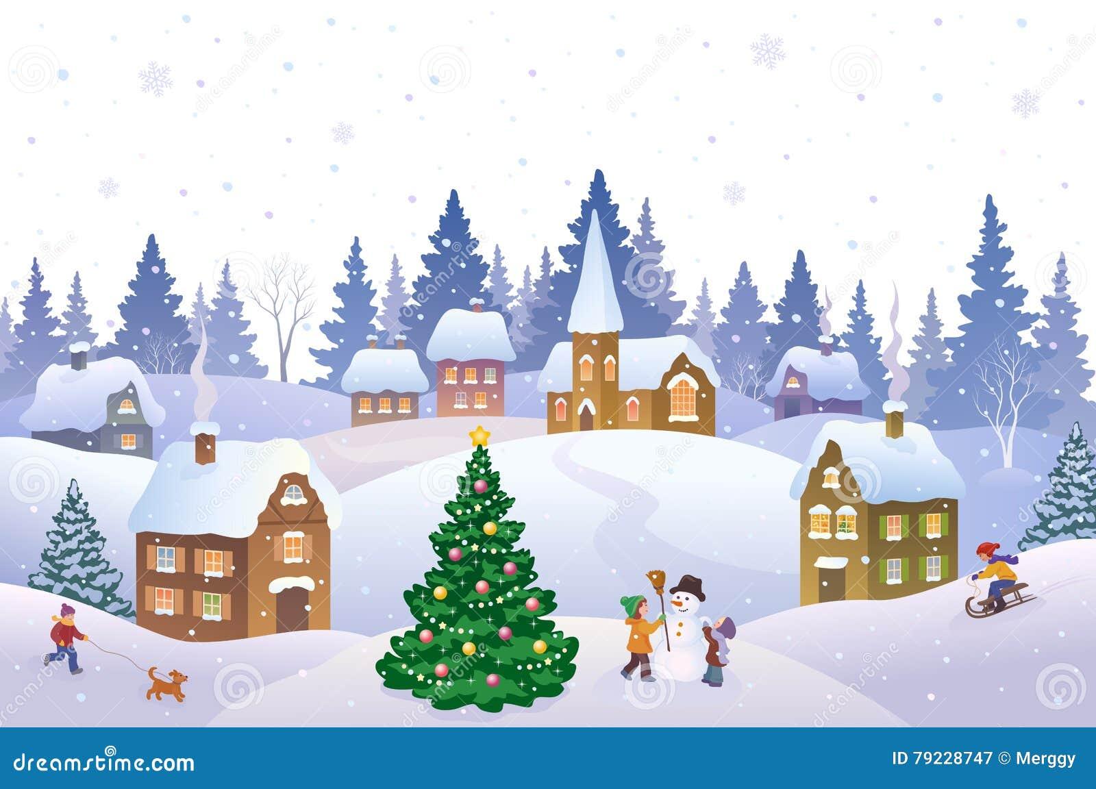 Christmas landscape stock vector. Illustration of house - 79228747
