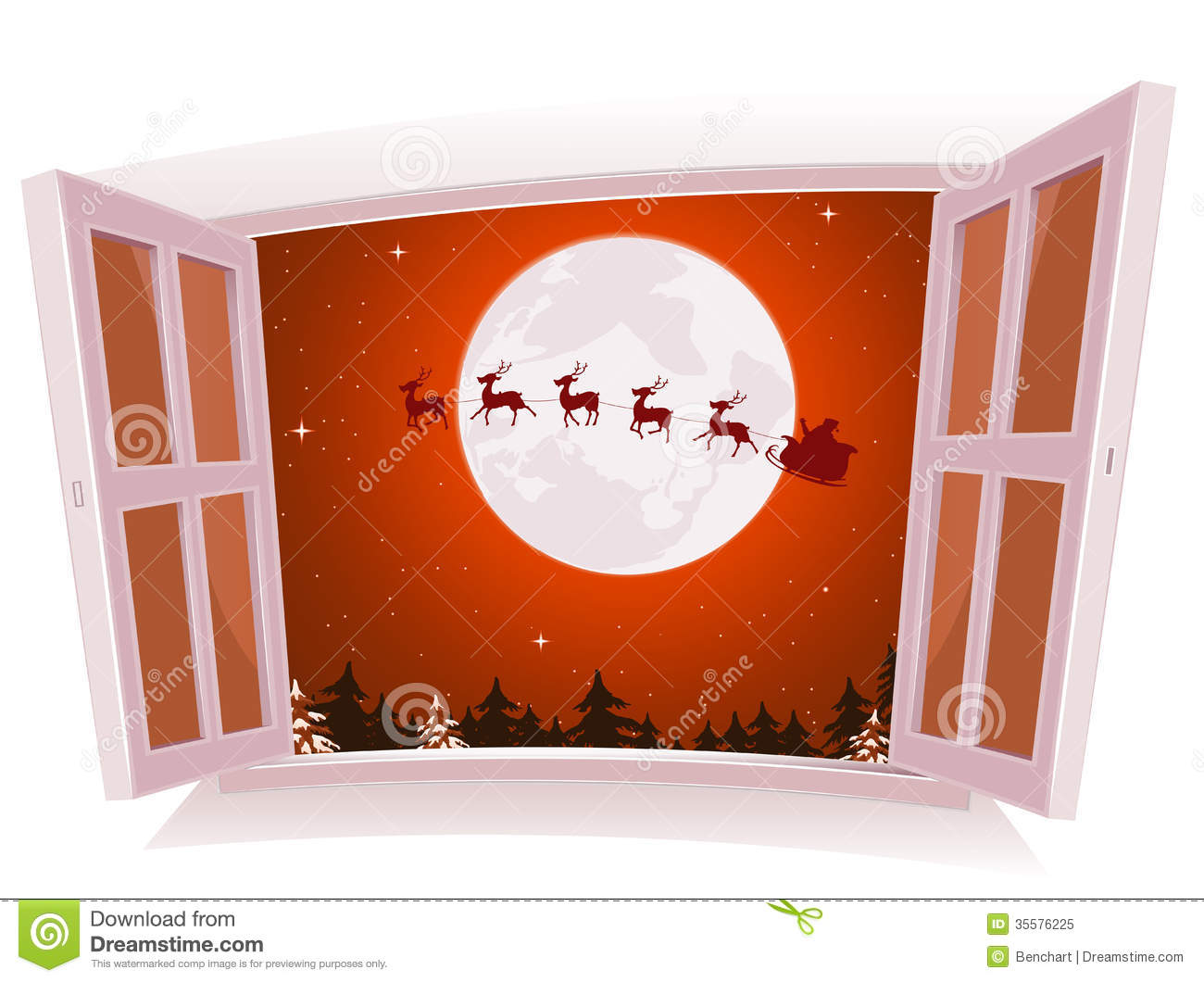 ... an open window, with santa character and reindeer flying in sleigh