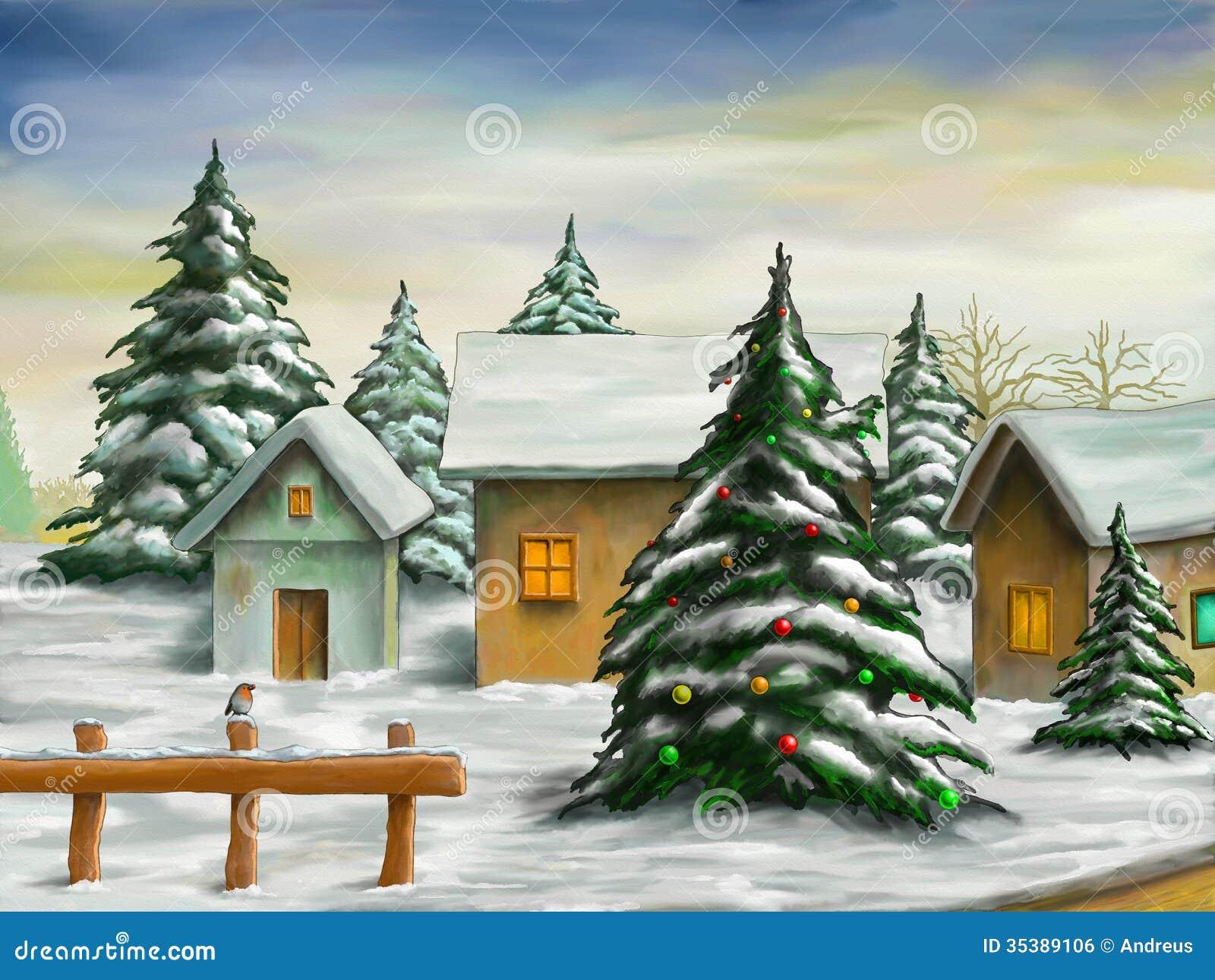 Christmas Landscape Stock Illustration Image Of Bird
