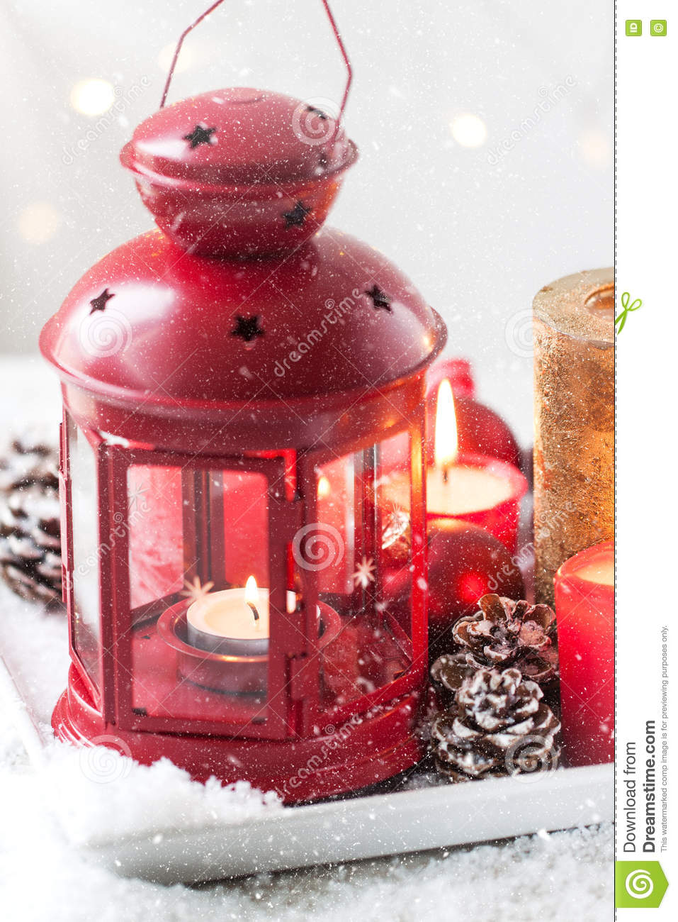 Christmas Lantern With Candles, Snow, Christmas Decorations And Fir ...