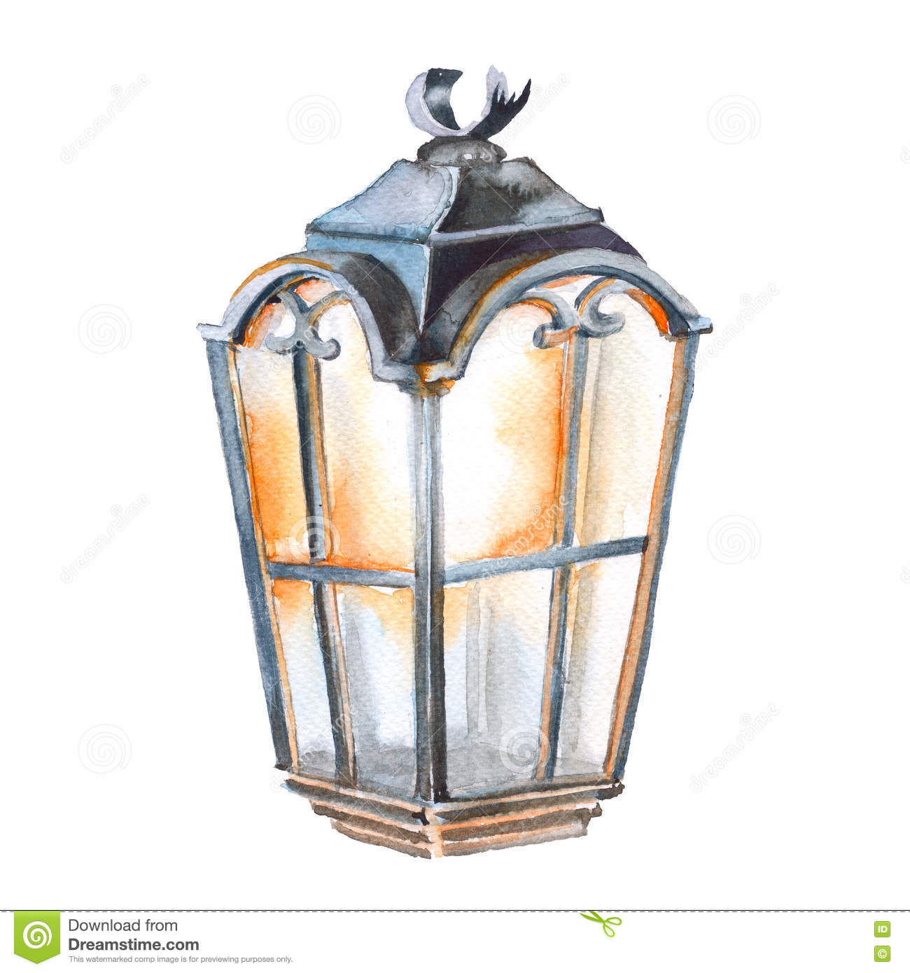 Christmas Lantern Isolated On A White Background Watercolor Illustration Abstract Burning