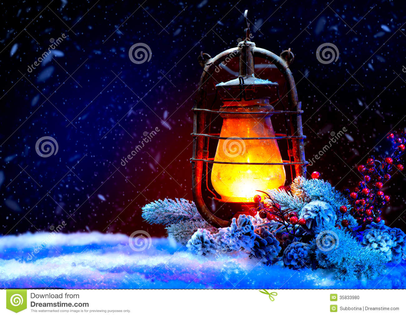 Christmas Lantern. Magic Stars. Winter Holiday Scene.