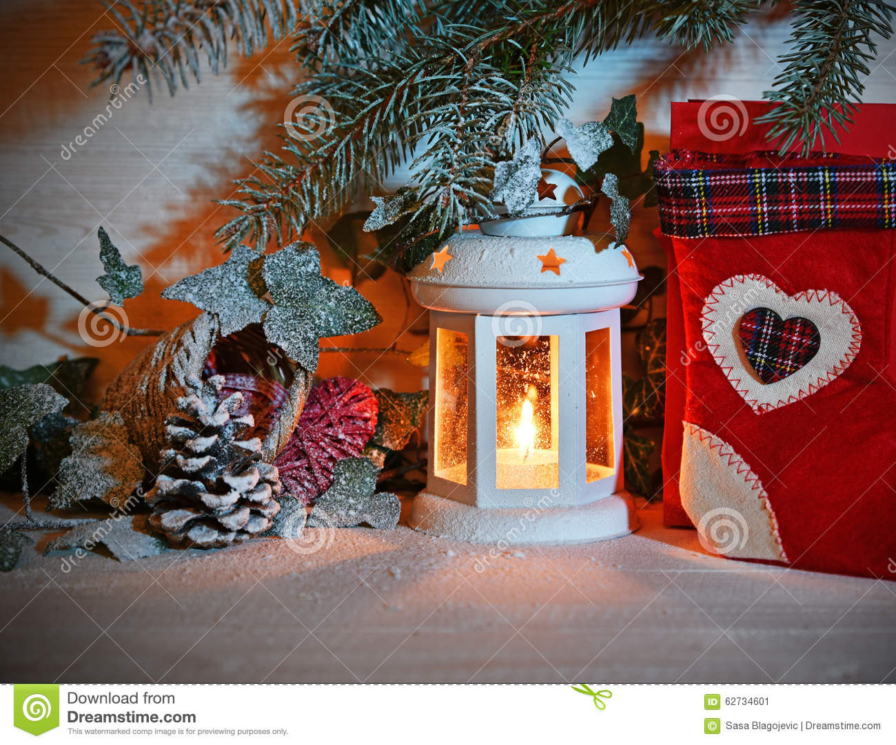 Christmas lantern in night on snow stock image image of for Images of lanterns decorated for christmas
