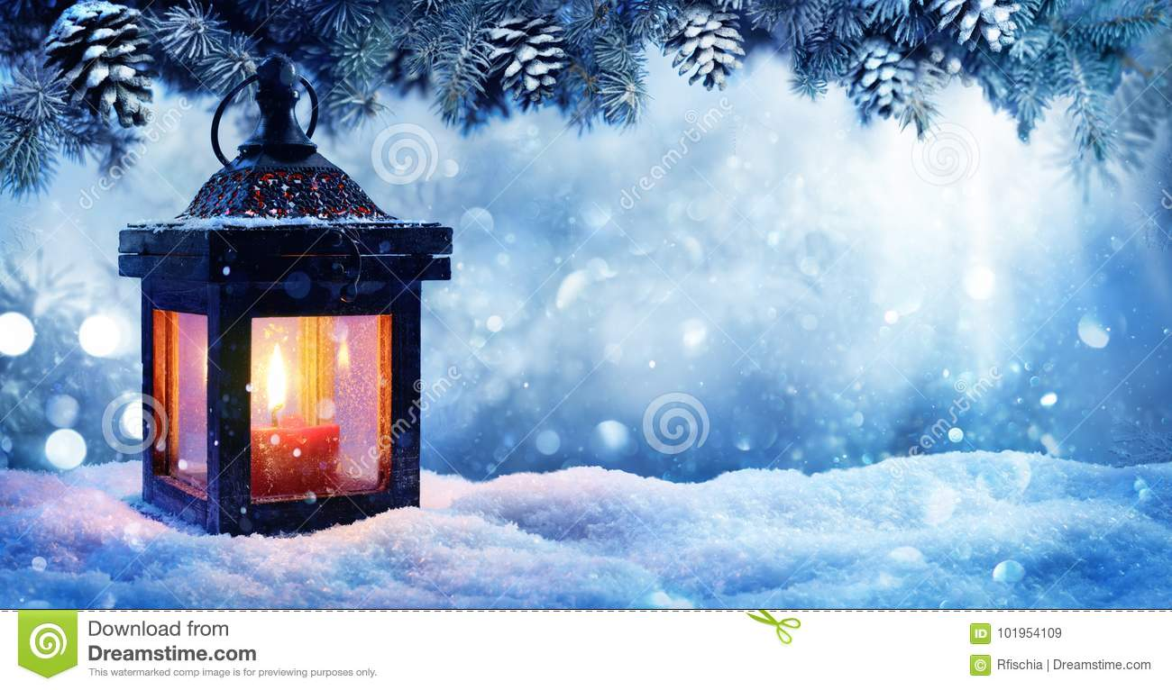 Christmas Lantern On Snow With Fir Branch