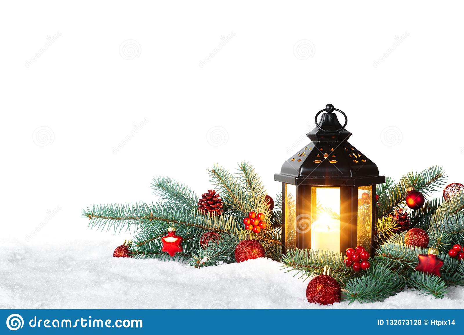 Christmas Lantern.Christmas Lantern On Snow With Fir Branch Isolated On White
