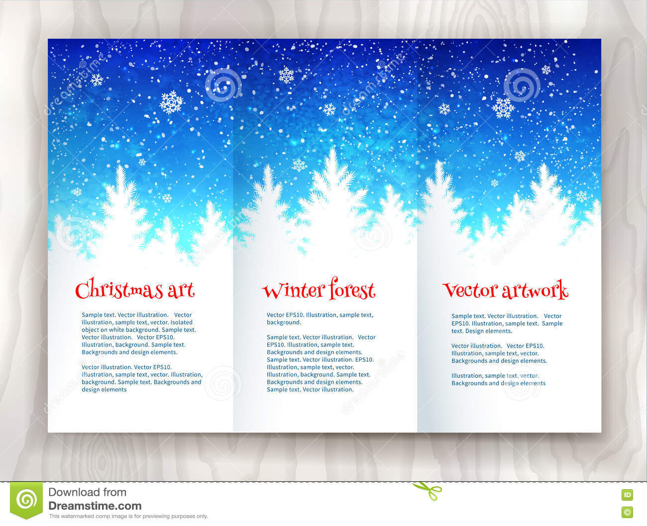 holiday brochure template - christmas leaflet design template stock vector image