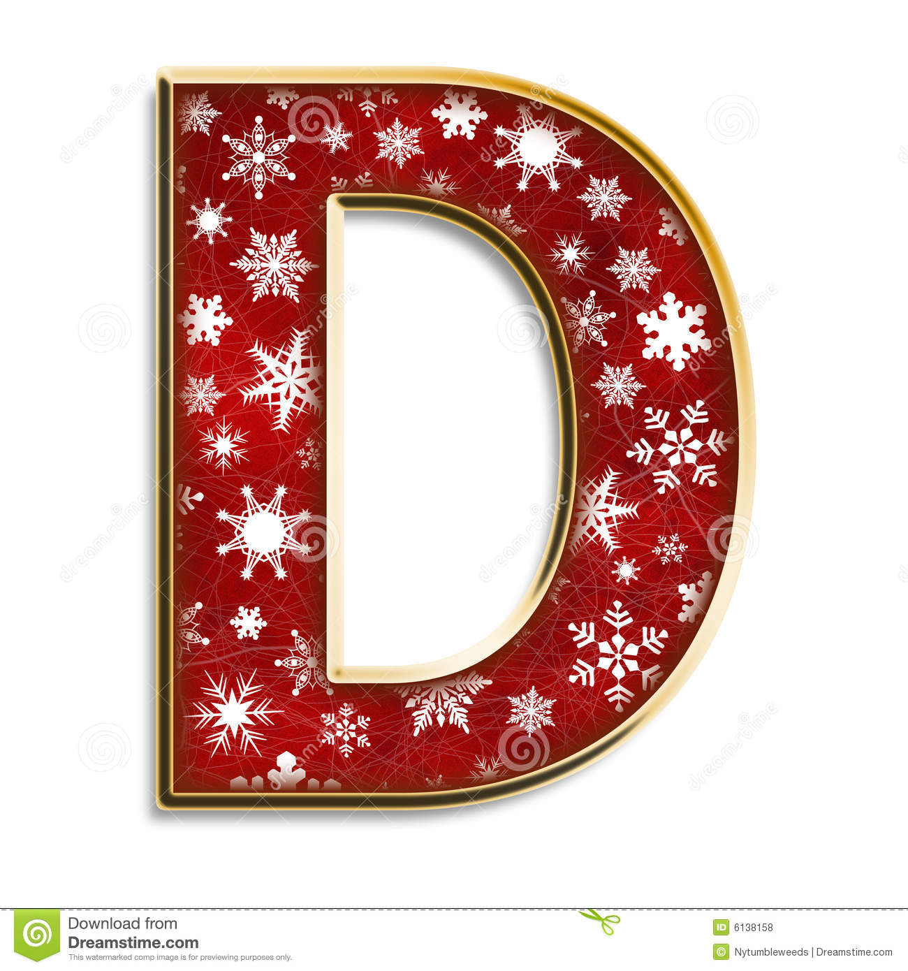 Christmas letter D in red stock illustration