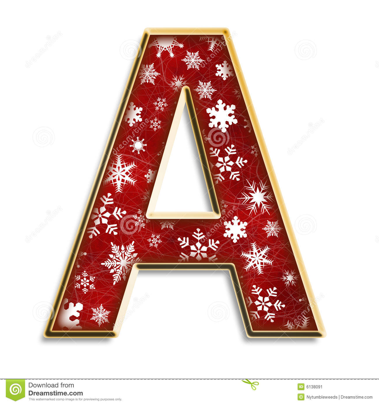 Christmas letter A in red stock illustration. Illustration of