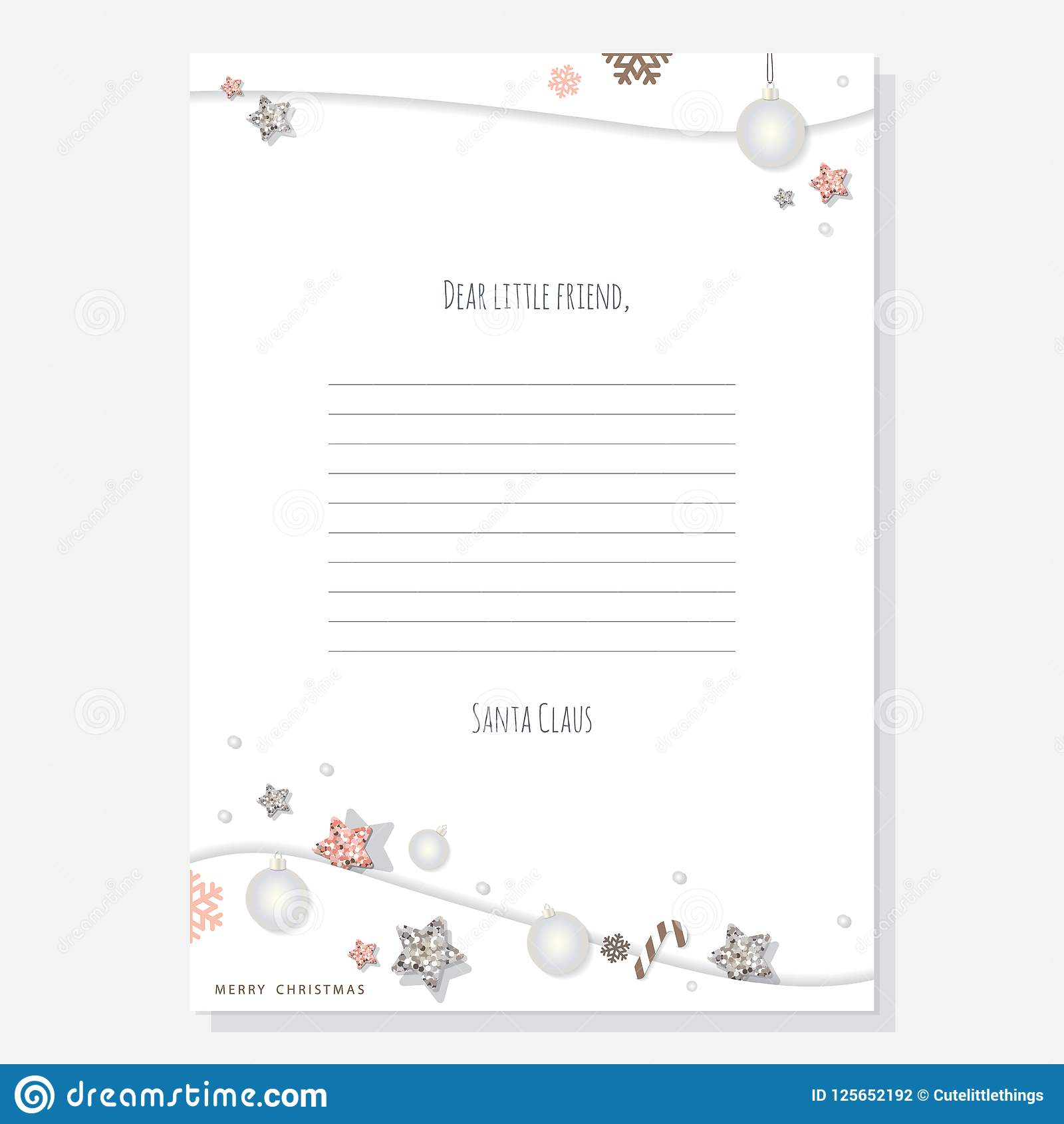 Christmas Letter From Santa Claus Template A4 Decorated With