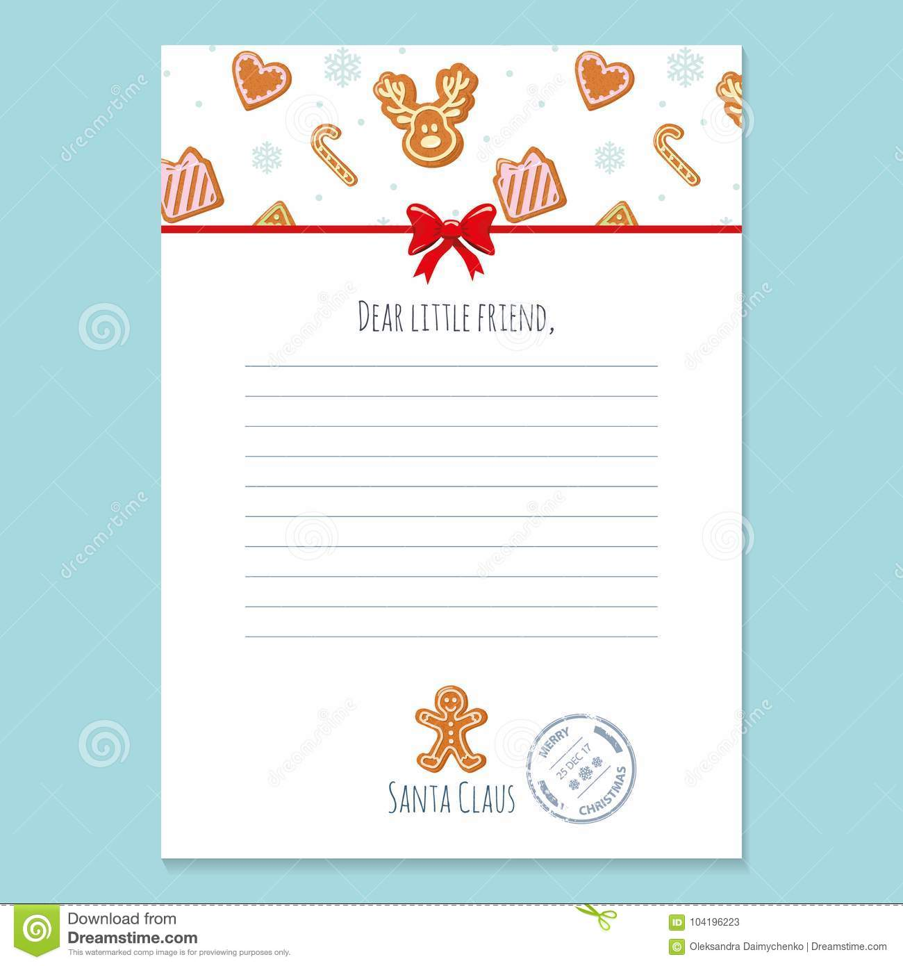 Christmas Letter From Santa Claus Template Layout In A4 Size